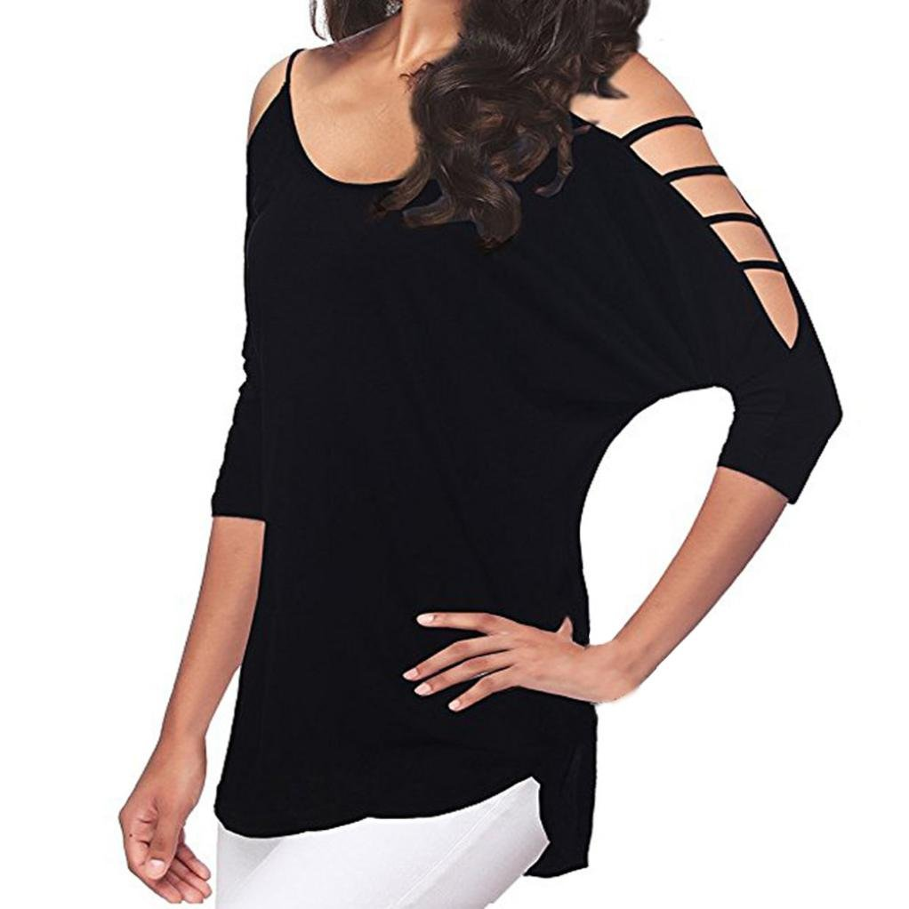 Amazon.com: Blouses for Womens, FORUU 3/4 Sleeve Casual Loose Hollow Out Shoulder Tee Shirts: Clothing