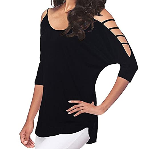 Blouses for Womens, FORUU 3/4 Sleeve Casual Loose Hollow Out Shoulder Tee Shirts