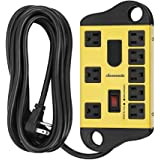 DEWENWILS 8-Outlet Metal Power Strip Surge Protector with 2 USB Ports,15 Ft Flat Plug Extension Cord, Heavy Duty Industrial P