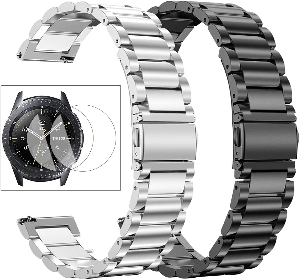 Oitom Stainless Steel Bands Compatible with Samsung Galaxy Watch 46mm Gear S3 Classic/Frontier Men XL Large,Heavy Duty Solid Metal Watch Band with Screen Protector Pack 2(Silver+Black)