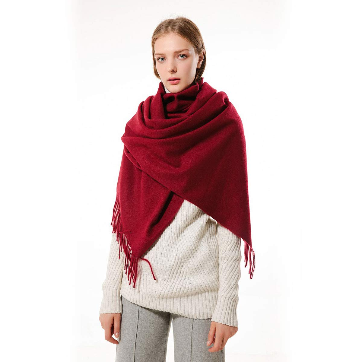 Women Soft Pashmina Wraps Shawls Stole Scarf - Large Size 78''x 28'' (Wine red)