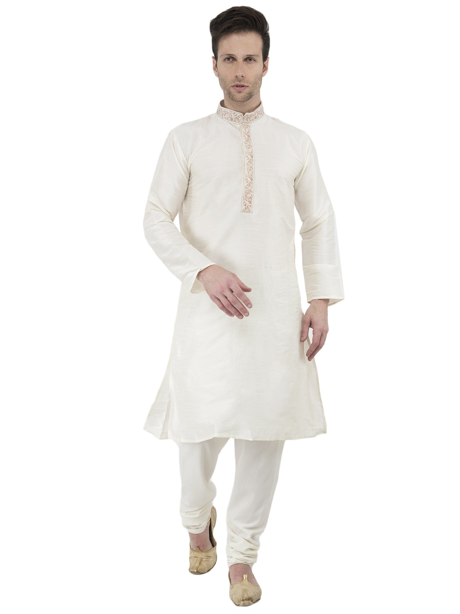 Long Sleeve Button Down Shirt Mens Kurta Pajamas Set Handmade Traditional Indian Costume Offwhite -M