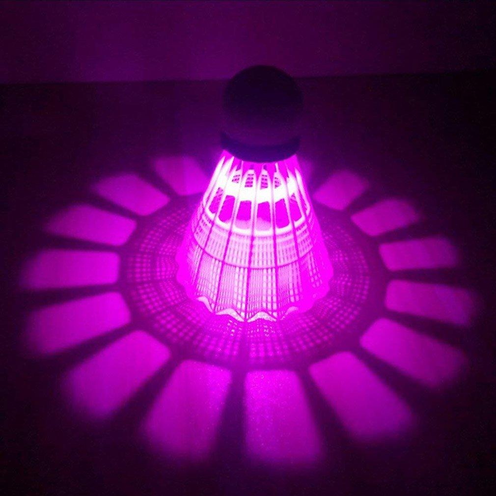 TRIEtree LED Badminton Colorful Shuttlecock Bouncy Dark Night Glow Birdies Lighting for Outdoor Indoor Sports Activities