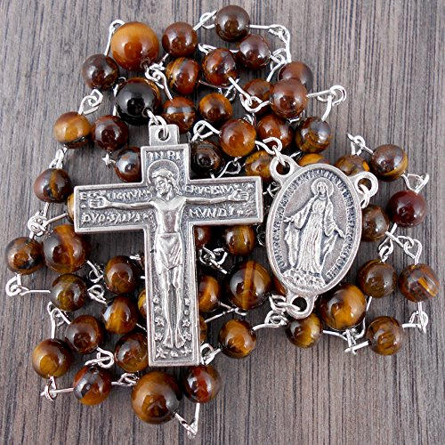 (Silver Florentine Rosary with Tiger's Eye gemstones, includes Gift Box)