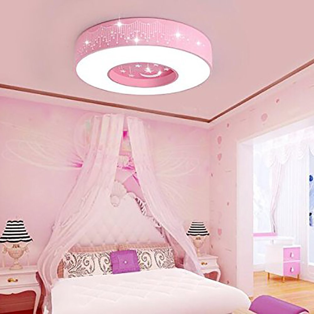 Tipton Light Ceiling Lighting 16 Inch with Star Moon Pink Ceiling Lights Simple Finish for Bedroom,Living Room,Study(this is only a light without fan)