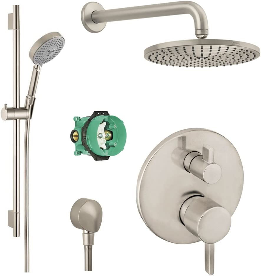 B01MSJGVG0 Hansgrohe KSH04231-27474-66BN-2 Raindance Downpour Air Showerhead Kit with Handshower, Wallbar, Thermostatic Trim with Diverter and Rough, Brushed Nickel 614IIy2BXV2BL.SL1000_