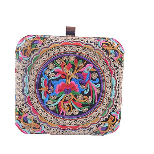 Women Peacock Embroidery Day Clutch Lady Floral Purse Totes Chain Patry Handbag Evening Bag (Coins 2)