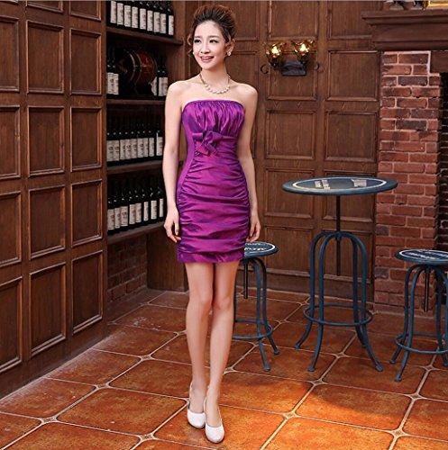 de la Cream Estilo Anual de Violeta de Corto Delgada Vestido de Breast WBXAZL Noche Chica Vestido Compañía Dama Honor Largo Banquete Coreano qfSTnwa