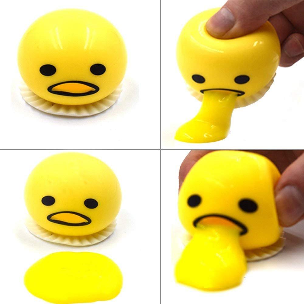Ocosy 4Pack Emoji Vomit Eggs | Soft & Squishy Stress Relief Party Favor | Novelty Gag Toys Spitting Yolk Egg Prank Squeeze Stress Relief Toys for Practical Jokes