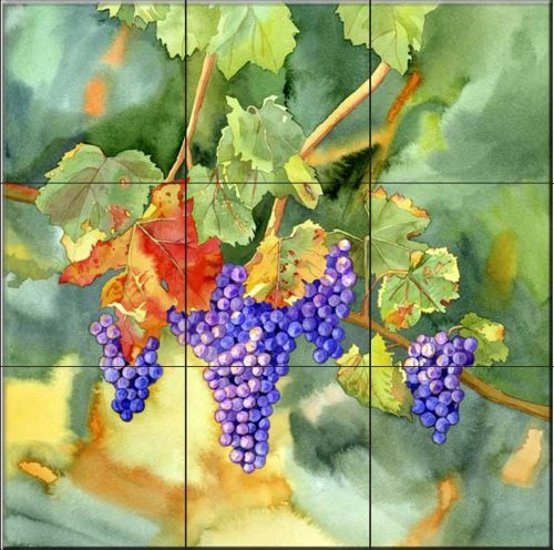 Harvest Vineyard (Ceramic Tile Mural - Vineyard Harvest - by Lynnea Washburn - Kitchen backsplash/Bathroom shower)