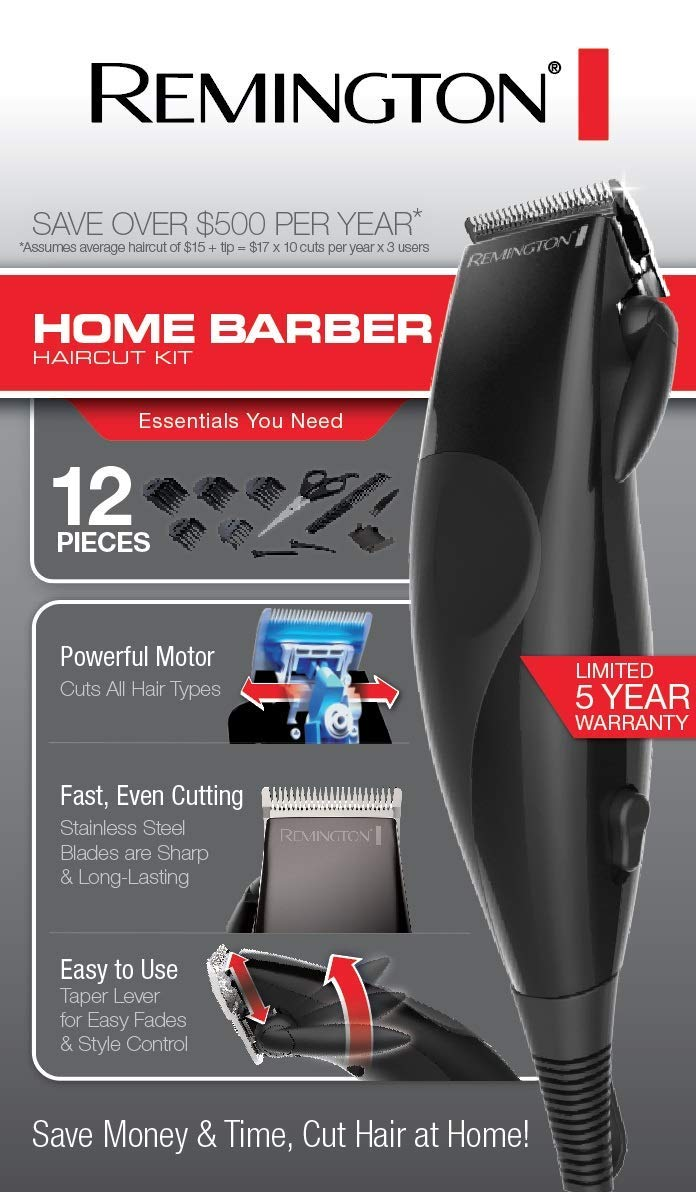 Remington 12 Piece Precision Corded Home Barber Haircut Trimming Kit