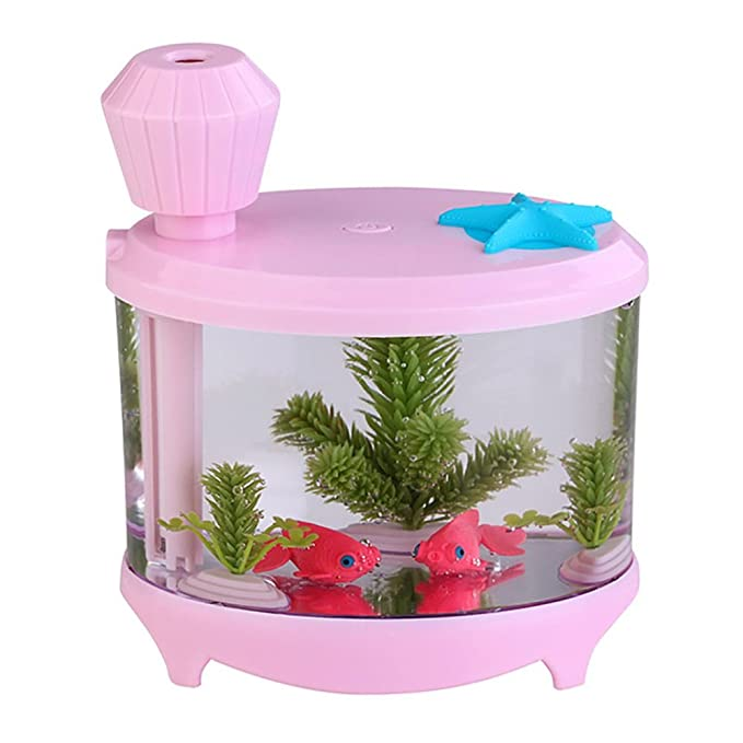 Amazon.com: VANKER Portable Fish Tank USB LED Light Humidifier Air Purifier Atomizer Aroma Mist Maker(Pink): Home & Kitchen