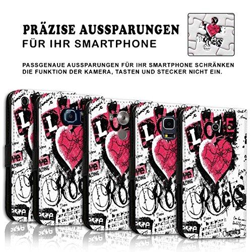 Wallet Book Style Flip Handy Tasche Case Schutz Hülle Schale Motiv Etui für Apple iPhone 5 / 5S - Design Flip MVD407