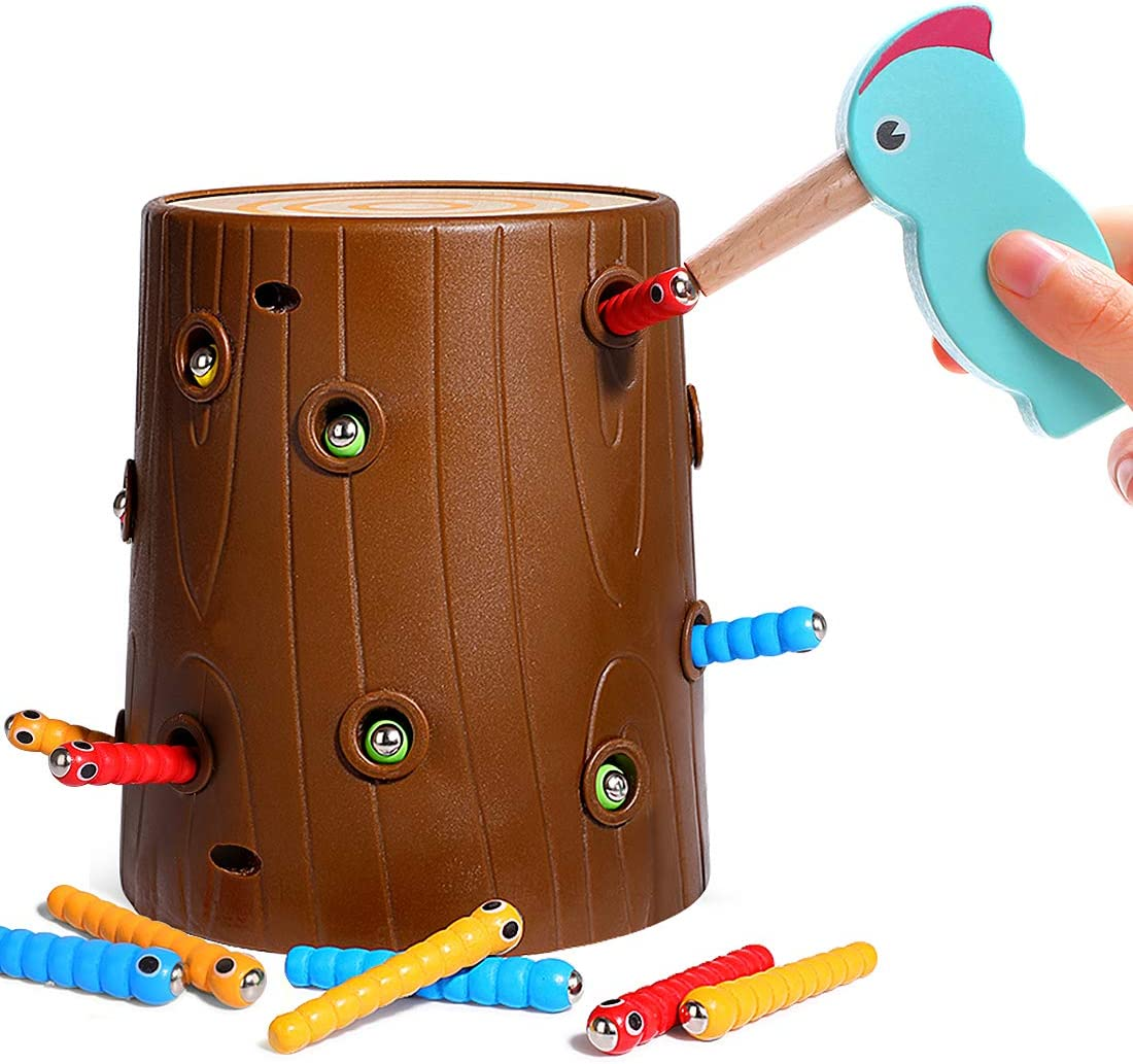 Lewo Magnetic Toddler Toys 3-5 Woodpecker Catching and Feeding Game Fine Motor Skills Toys Preschool Educational Learning Toys for Kids Toddlers Boys Girls