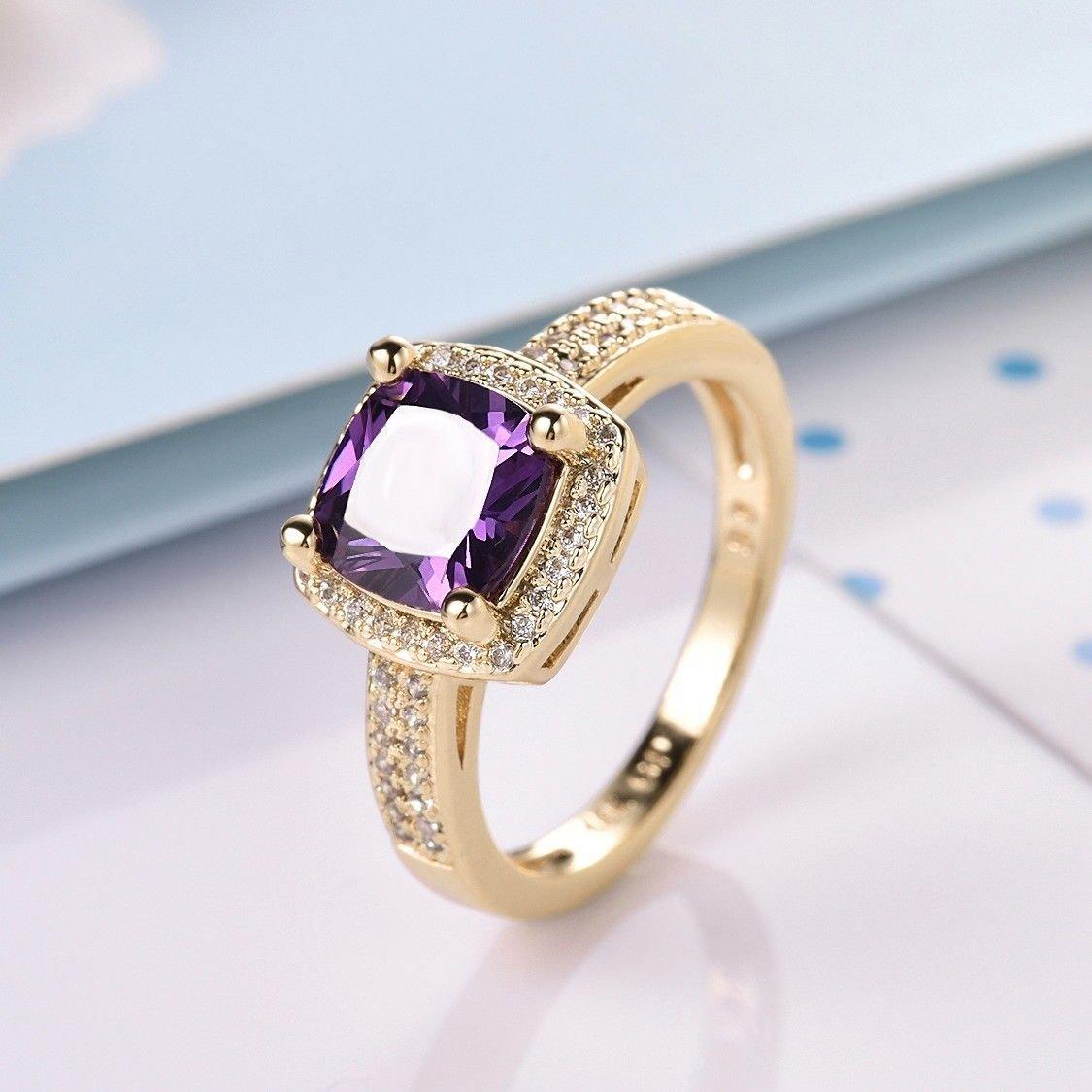preeyanan Womens 18K Gold Filled Princess Purple Amethyst Crystal Rhinestone Promise Rings 8