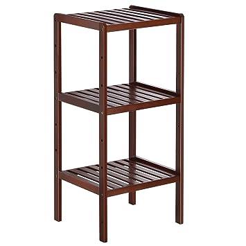 Bamboo Bathroom Shelf 3 Tier Small Utility Storage Shelf Rack Adjustable Layer Plant Flower Display Stand Narrow Shelving Unit For Living Room