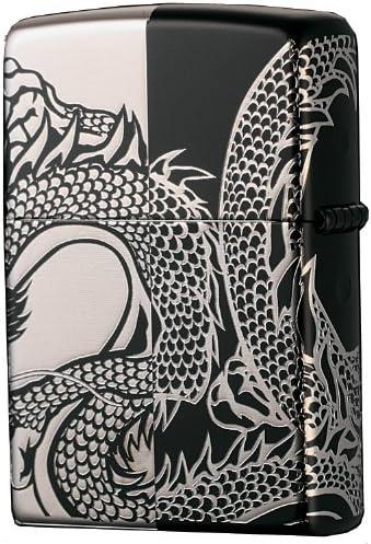 ZIPPO(ジッポー) オイルライター NO200 MONOTONE DRAGON&LION ドラゴン ブラック×シルバー 2BKS-DRHF