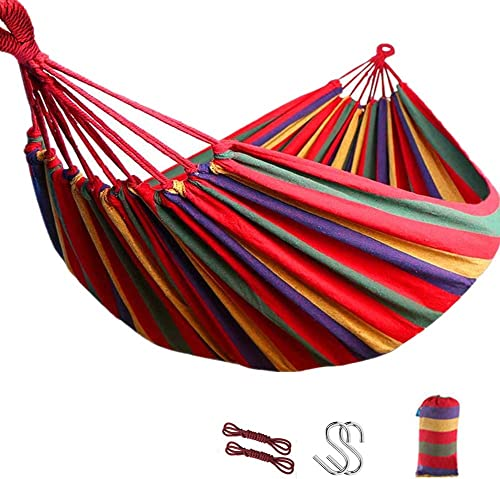 ZHONGLI 2 Person Hammock Double Large Canvas Cotton Hammock for Patio Porch Garden Backyard Lounging Outdoor and Indoor 250x150cm Red