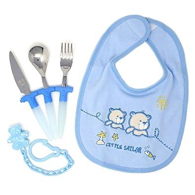 Juego bebé cubiertos babero portachupe caja plata Ley 925m [AB9704]: Amazon.es: Joyería
