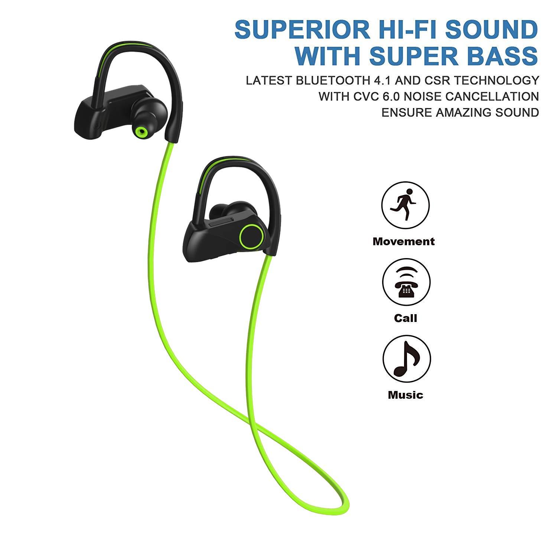 Newest 2018 Bluetooth Headphones Best Wireless Sport Earphones w/Mic IPX7 Waterproof HD Stereo Sweatproof Earbuds for Gym Running Workout for Men, Women 8-10 Hrs Battery Cancelling Headsets(Green)