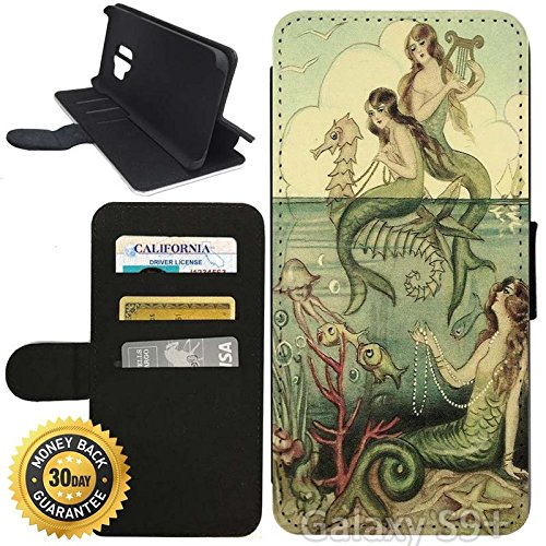 Vintage Purses Ebay - Flip Wallet Case for Galaxy S9 Plus (Vintage Mermaid Seahorse Illustration) with Adjustable Stand and 3 Card Holders | Shock Protection | Lightweight | Includes Stylus Pen by Innosub