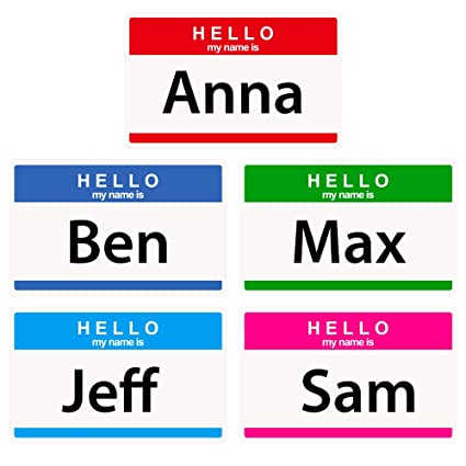 Colored Hello My Name is Stickers/Name Labels Tags, Self-Adhesive Name  Label for School, Party, Volunteer Stickers