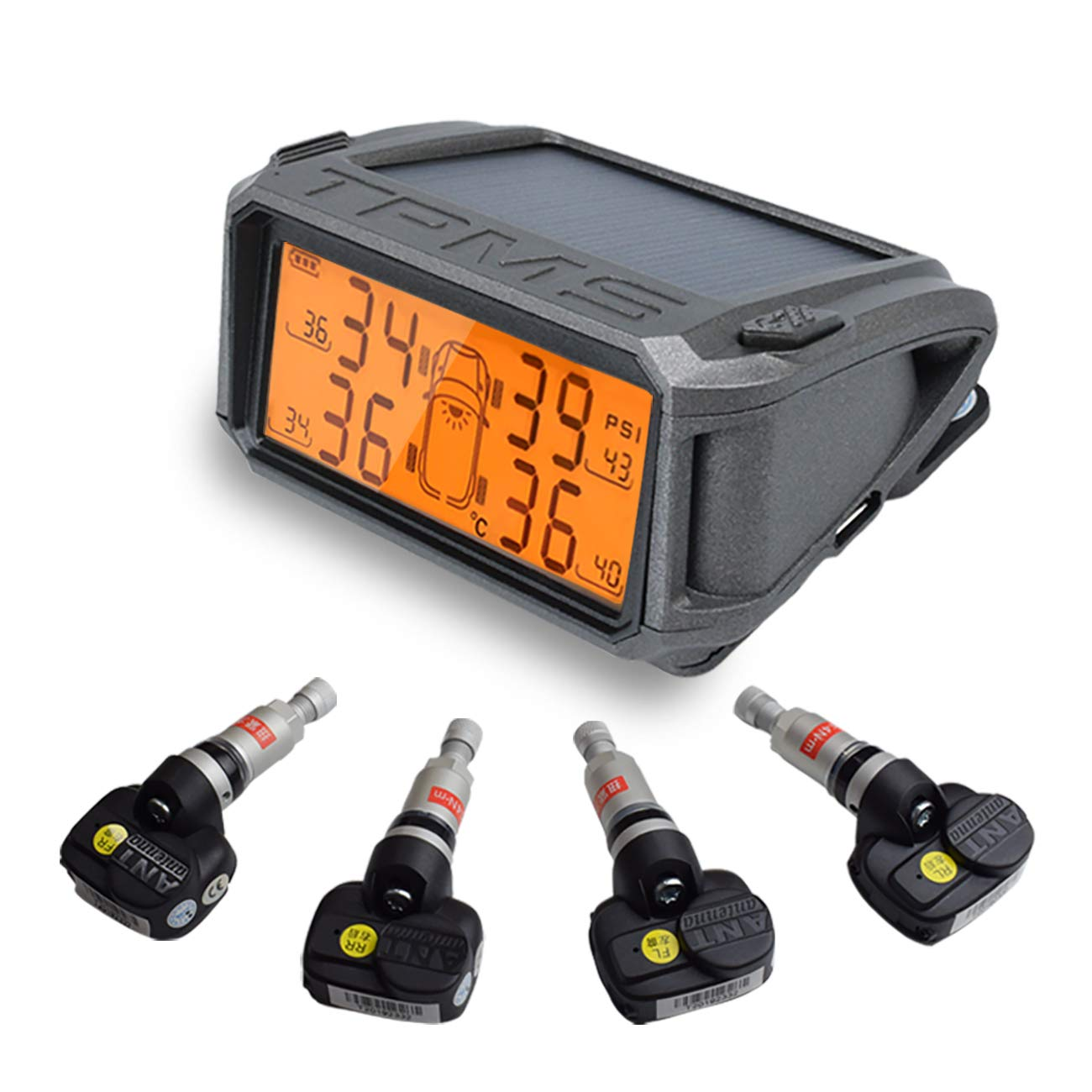 DEEWAZ TPMS Tire Pressure Monitor Solar Power Charging Real-time Display Auto Alarm 4 Tires' Pressure Temperature TPMS - Yellow Backlight LCD