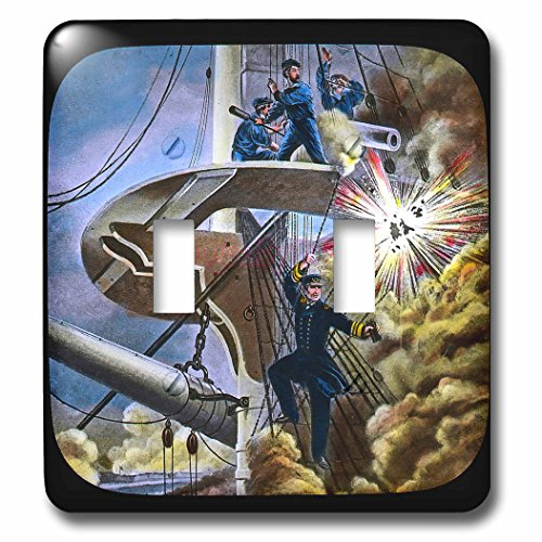 3dRose Scenes from the Past Magic Lantern Slides - War of 1812 Battle of Lake Erie Vintage Commodore Hazard Perry - Light Switch Covers - double toggle switch (Commodore Clock)