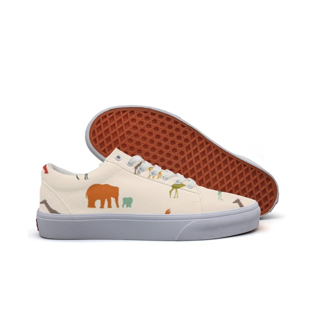 Elephant Giraffe Bird Birch Fashion Canvas Sneaker For Womns 3D Printed Low Top Walking Shoes