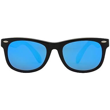 SOJOS Kinder Wayfarer Flexible Silikon gummiert verspiegelt Sonnenbrille für Jungen und Mädchen SK205 mit Rosa Rahmen/Blau Linse ylQGZE