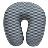 HGBAk Chin Supporting Travel Neck Pillow - Chevron in Marine Navy and Seacap White Bands Wall Print,Neck and Chin in in Any Sitting Position