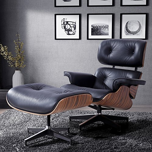 RECLINER GENIUS 100% Grain Italian Leather Recliner Lounge Chair with Ottoman (black) (Lounge Recliner Chair)