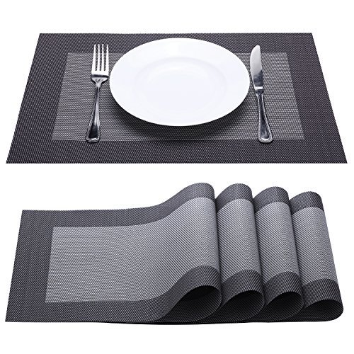 Placemat, Fashion European Style PVC Placemat Non-slip Insulation Placemat Washable Table Mats Set of 4 (Black+Grey)
