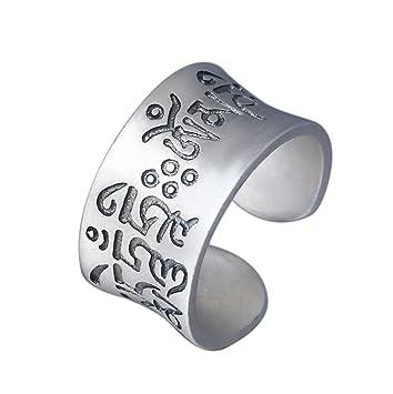 H.L 990 Pure Silver Ring Unique Tibetan Character Mantra Jewelry Anillos Abiertos Anchos para Hombres Y