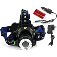 Elinz Headlamp Headlight LED Torch CREE XM-L T6 Zoomable Rechargeable 2X 18650 Batteries 10,000hrs life spanIP65 Li-ion battery 2500LM Raylight