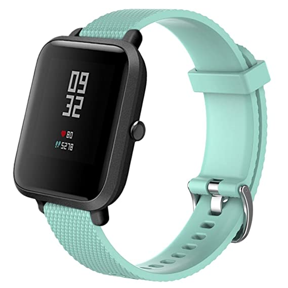 10 Colors Watch Strap for Smart Watch, 20MM Replacement Soft Silicagel Sports Watch Band Strap For Xiaomi Amazfit Bip Youth Watch (Mint Green)