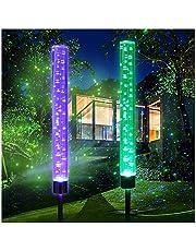 2pcs Garden Solar Lights Outdoor Solar Acrylic Bubble RGB Color Changing Solar Powered Garden Stake Lights for Garden Patio Backyard Pathway Decoration