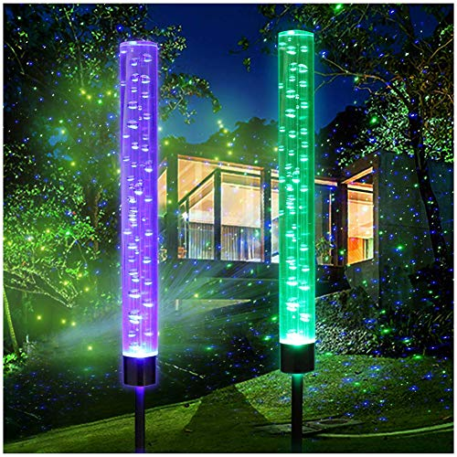 2pcs Garden Solar Lights Outdoor Solar Acrylic Bubble RGB Color Changing Solar Powered Garden Stake Lights for Garden Patio Backyard Pathway Decoration
