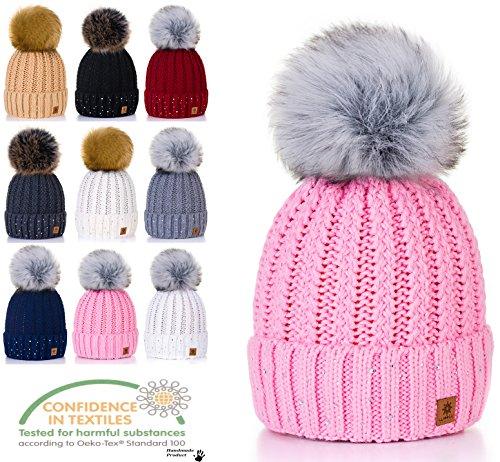 mujeres Winter c al Beanies Color por punto de de Pique mayor oro y o para Pompom tama 4sold Un Lady Beanie YFqAAg