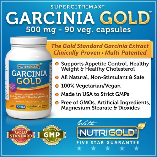 N ° 1 Garcinia cambogia extrait - Garcinia GOLD - 500 mg, 90 capsules végétariennes (Featuring breveté Super Citrimax)