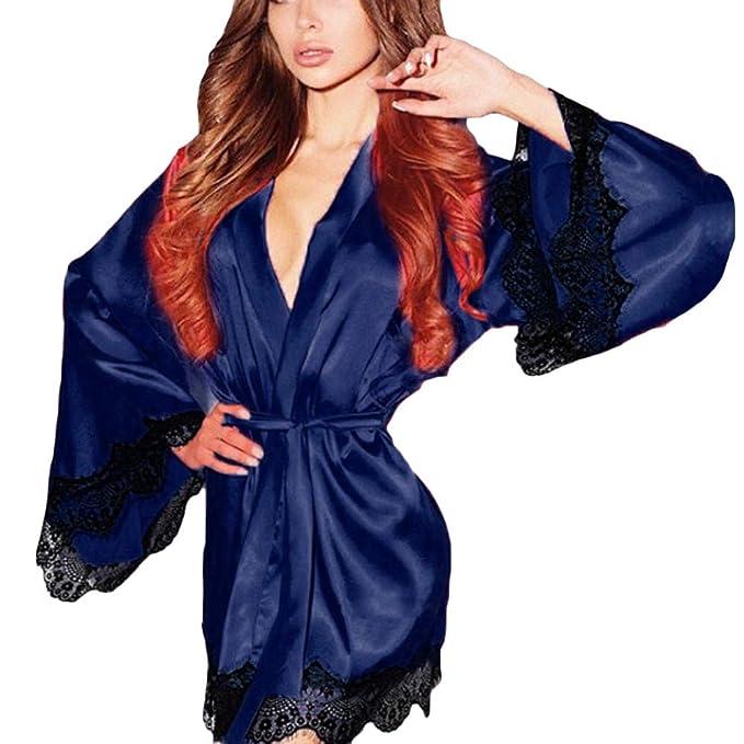 Batas Mujer Vestido de Kimono de Seda para Mujer Babydoll Encaje lencería Sexy bañador de baño Ropa de Dormir Pijamas de tentación Amlaiworld: Amazon.es: ...