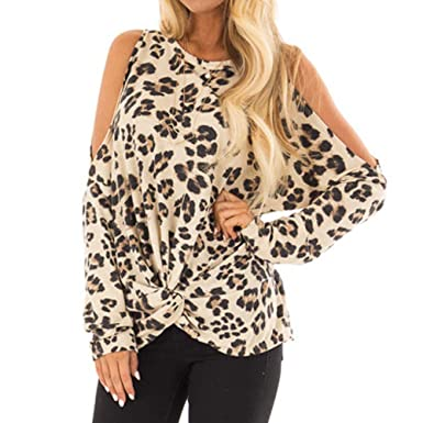 6ad9a3713f DMZ Women O-Neck Leopard Print Casual Top T Shirt Fashion Long Sleeve Top  Blouse at Amazon Women s Clothing store