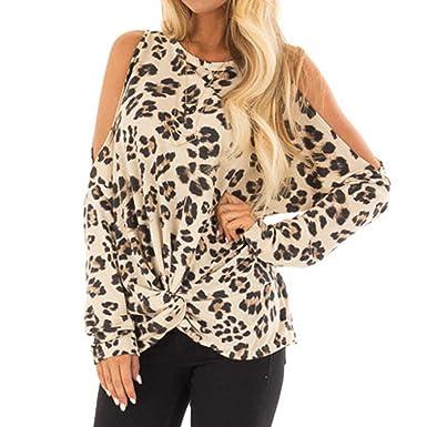 b7e04912f5455 Damark Womens Tops Women Casual Autumn Leopard Print Long Sleeve Cold  Shoulder Tops T Shirts Blouses