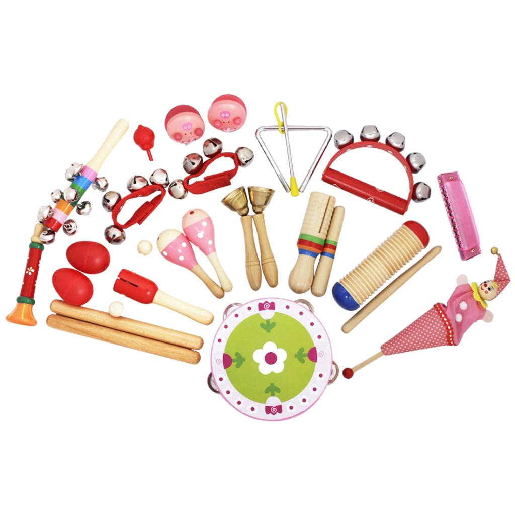 Flameer 22 pcs Musical Instrument Set, Toddler, Kids, Children, Students Music Toy kit, for Early Musical Development and Educational Learning - Red