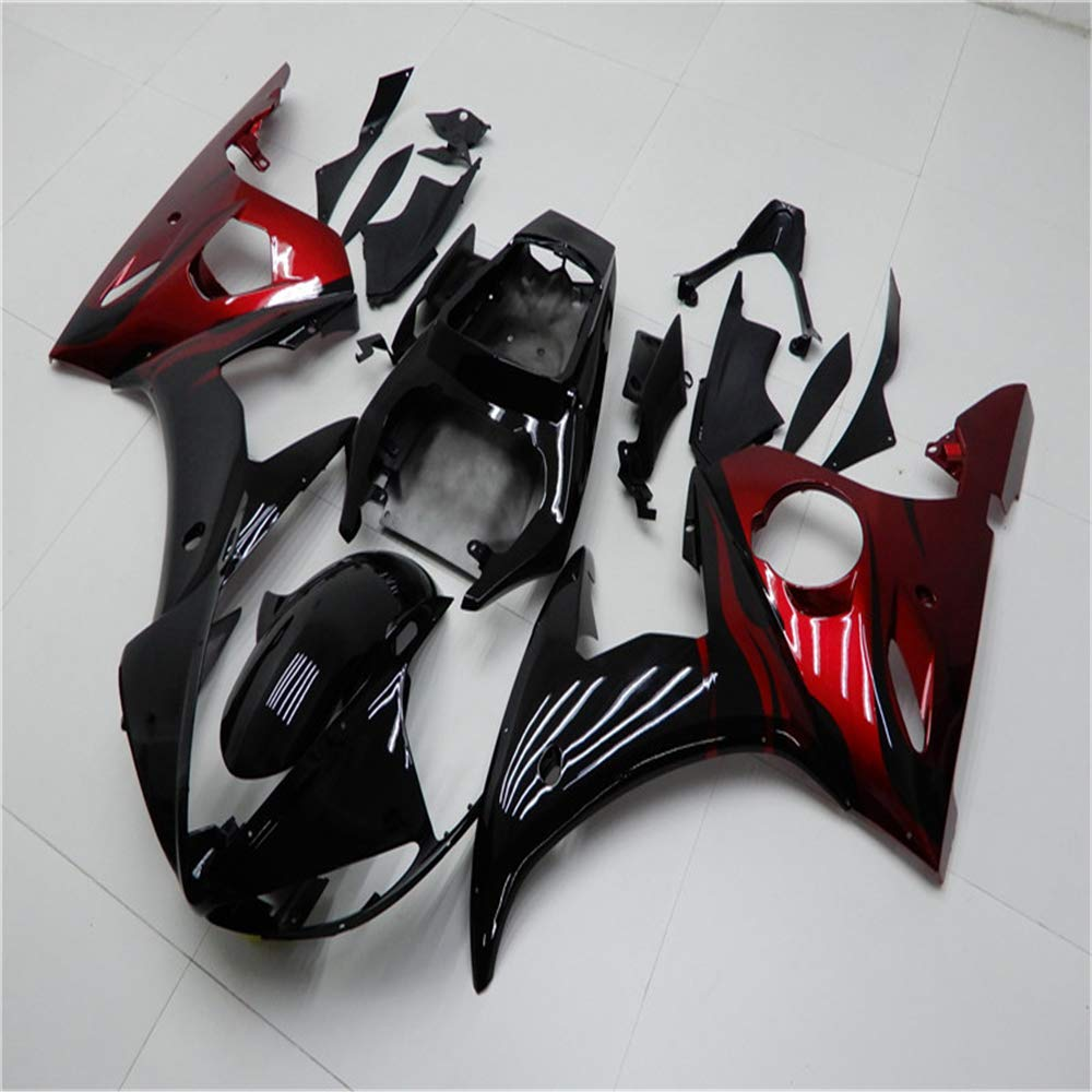 NT FAIRING Glossy Red Black Injection Mold Fairing Fit for Yamaha YZF 2003-2005 R6 /& 2006-2009 R6S New Painted Kit ABS Plastic Motorcycle Bodywork Aftermarket