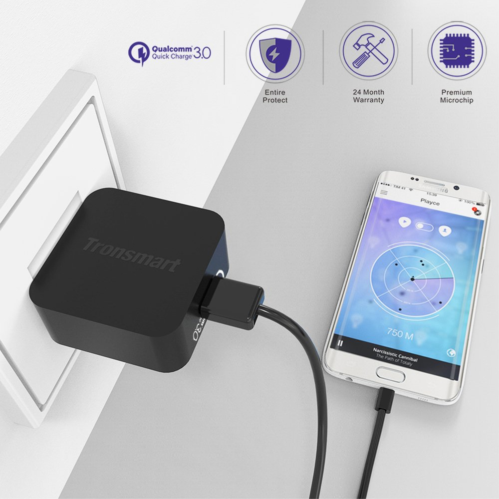 Tronsmart Ts Wc1t Wall Charger Qualcomm Quick Charge 30 Original 42w 3 Port W3pta Certified Usb Turbo For Galaxy