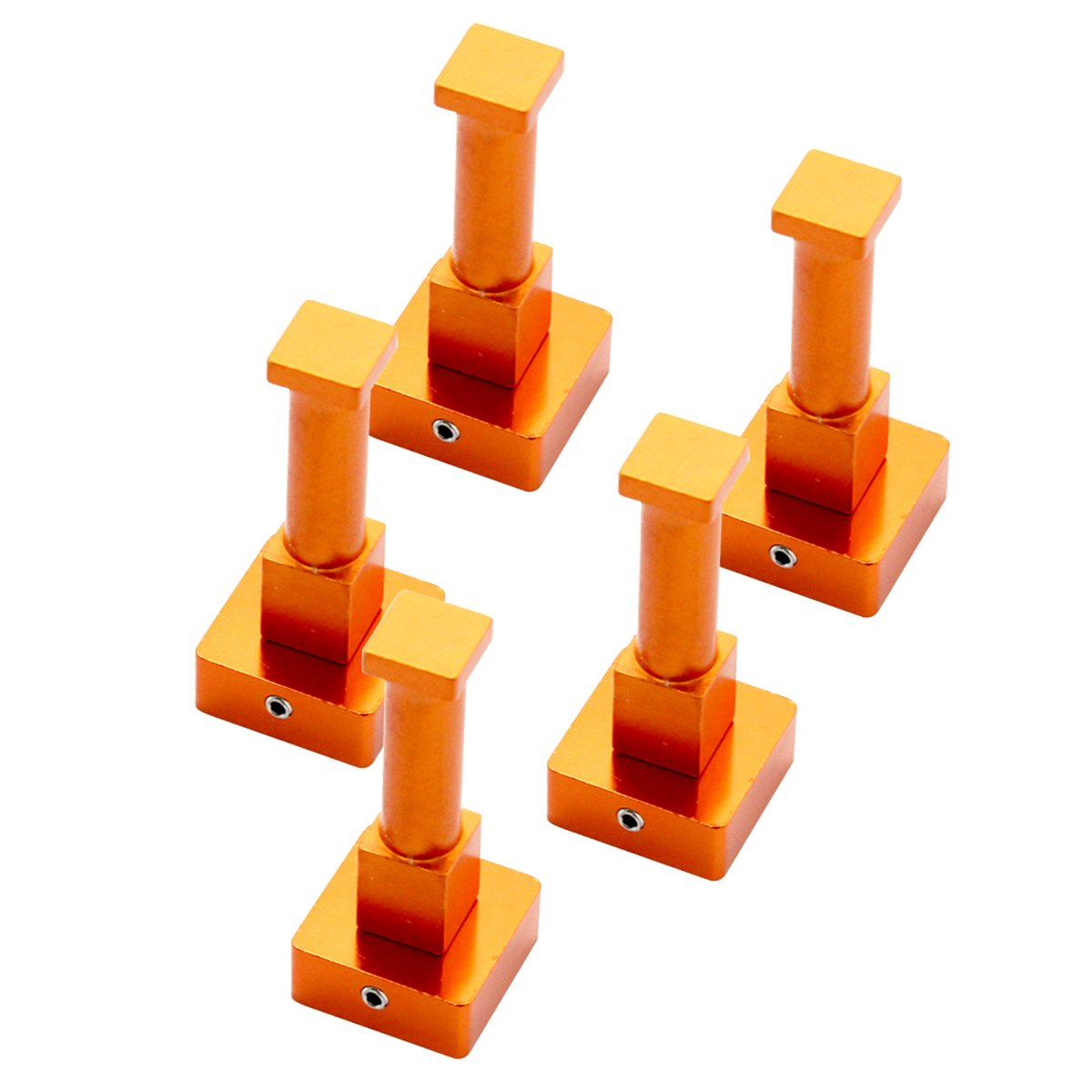 bouti1583 Aluminum Colorful Square Hooks Holder Hanger Key Coat Hat Rack Robe Orange