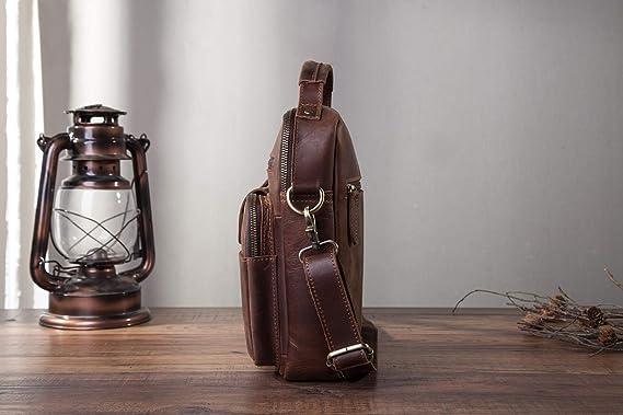 Leaokuu Mens Crazy Horse Leather Cross Body Messenger Shoulder Satchel School Bag For 8 Tablets 143 143 Brown