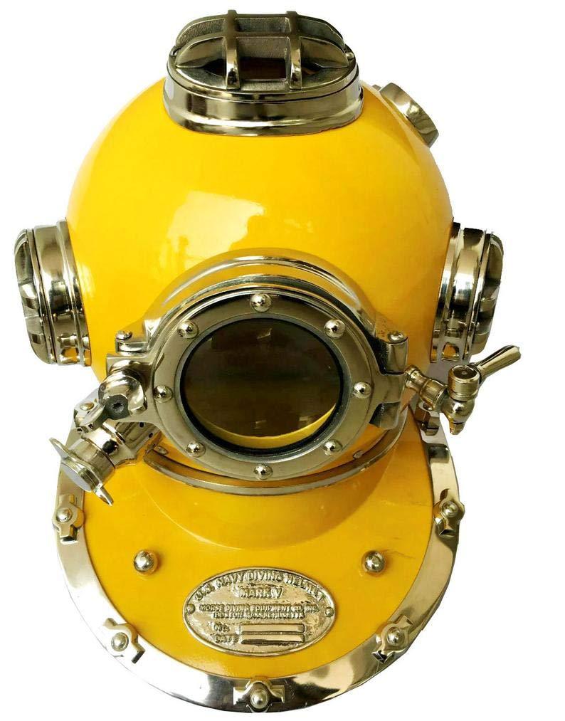 Royal Victorian Export Antique Yellow Diving Helmet US Navy Mark V Scuba Divers Solid Brass Helmet Decorative
