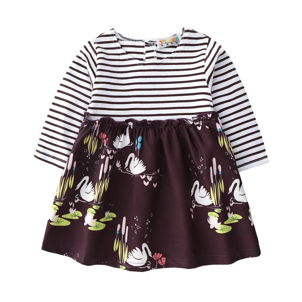JYC Vestido de niñas, Vestido para Bebés, Recién Nacido Infantil Niñito Bebé Chicas A Rayas Floral Impresión Princesa Vestidos Trajes: Amazon.es: Ropa y ...
